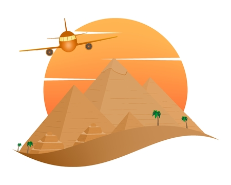The icon with the Egyptian Pyramids of Giza in the Sand with orange sun in the background of palm trees with brown trunk with green leaves and flying aircraft on a white background