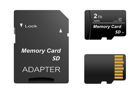 Set of black standard 2 tb digital sd memory cards front and back with gold contact with adapter for sd card on a white background. Collection media card for digital data