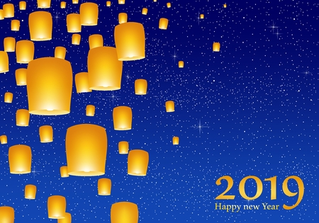 New year greetings for year 2019 with bright blue sky with glowing stars with yellow lights and flying chinese lucky lanterns with clematis on left on a blue background
