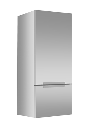 Silver refrigerator with freezer on white background. Modern 3d fridge with door. Home kitchen electrical appliance.