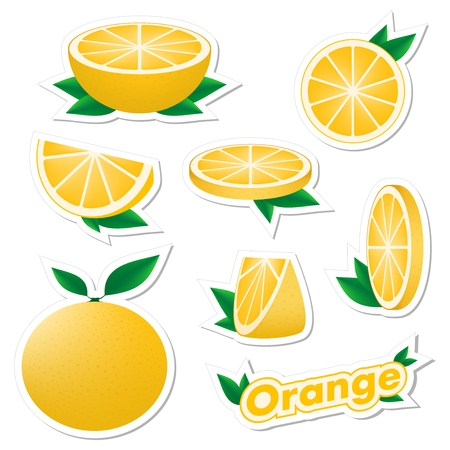 Set stickers of fresh citrus sliced and whole orange fruit with skin with green leaves on a white background. The concept of healthy eating. Illustration
