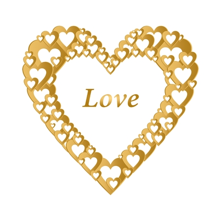Valentines gold background with dark gold heart with gold hearts composition. Greeting for lovers and for Mother's Day