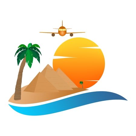 The icon with the Egyptian Pyramids of Giza in the Sand with orange sun in the background of palm trees with brown trunk and blue water with green leaves and flying aircraft on a white background