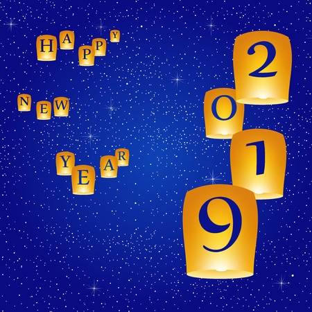 New year greetings for year 2019 with bright blue sky with glowing stars with yellow lights and flying chinese lucky lanterns with clematis on down on a blue background