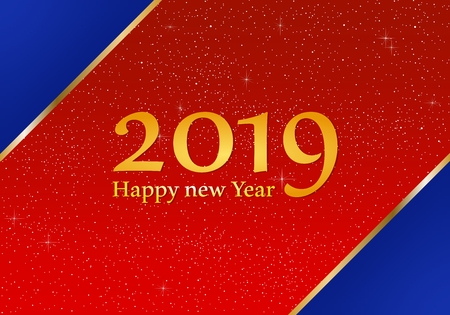 New year greetings for year 2019 with bright red background with glowing stars and blue triangles in corners with a gold ribbon with yellow lights with number