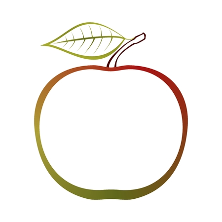 Contour of ripe red apple with green stem with brown end and green leaf on white background. Ripe autumn natural home made fruits
