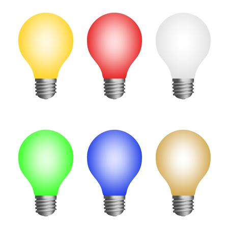 Set icon of colored light bulbs. Led glass bulbs on a white background. Eco energy power