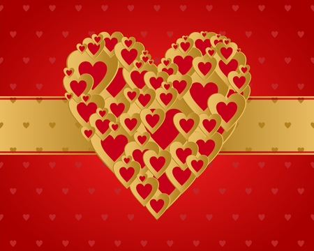 Red Valentine greeting with a heart composed of small gold hearts with gold ribbon middle on a red heart background
