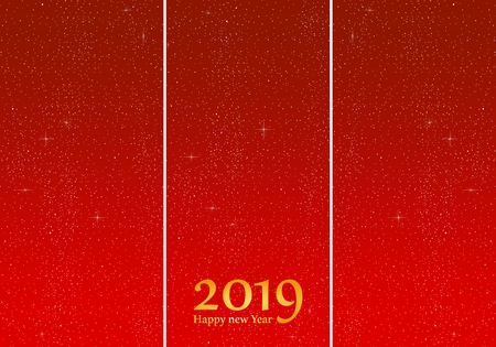 New year greetings for year 2019 with bright red background with glowing stars with yellow lights with number
