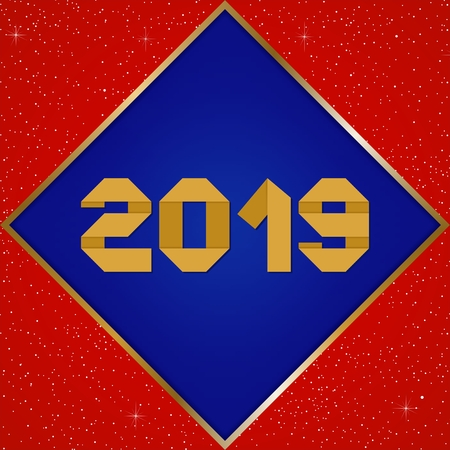 New year greetings for year 2019 with bright red background with glowing stars with gold lights with number in the golden ribbon frame and blue square Stock Illustratie