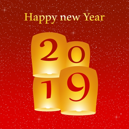 New year greetings for year 2019 with bright red background with glowing stars with yellow lights and flying chinese lucky lanterns with clematis with number