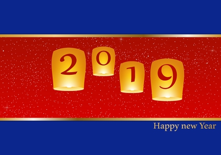 New year greetings for year 2019 with bright blue background and red strip, yellow lights and flying chinese lucky lanterns with clematis, gold ribbon with glowing stars with yellow lights with number
