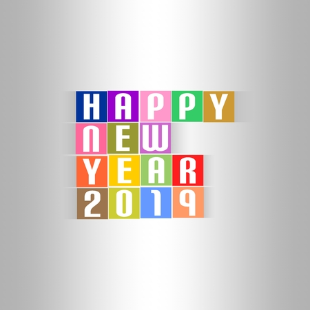 New Year Greetings for 2019 with white lettering happy new year 2019 on the colored squares with shadow in the middle on a silver background