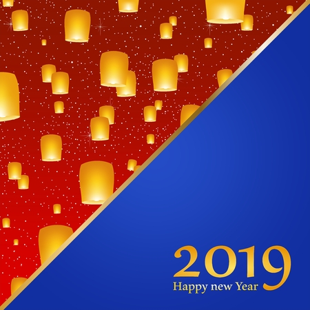 New year greetings for year 2019 with bright red background with glowing stars with yellow lights and flying chinese lucky lanterns with clematis with number on a blue triangel