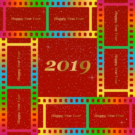 New year greetings for 2019 with colorful blank film and photographic window with golden inscription Happy new year and number 2019 on a red background with starts