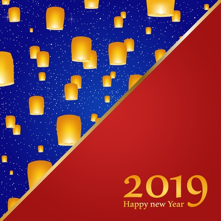 New year greetings for year 2019 with bright blue background with glowing stars with yellow lights and flying chinese lucky lanterns with clematis with number on a red triangel Stock Illustratie