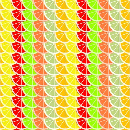 Colorful background of slices and slices of citrus fruits of orange, lime, grapefruit, tangerine, lemon and pomelo. Backdrop from mixed fresh fruit in a row. Stock Vector - 112003728