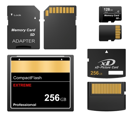 Set of black standard digital sd, xd and compact flash memory cards front and back with gold contact with adapter for sd card on a white background. Collection media card for digital data