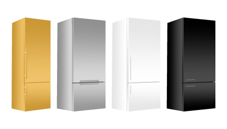 Set gold, silver, white, black refrigerator with freezer on white background. Modern 3d fridge with door. Home kitchen electrical appliance. Çizim
