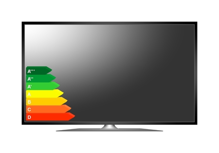Modern 3D plasma TV. Off multimedia device with a stand with a black display with energy class label from efficiency A to D on white background. Widescreen TV with black frame. 4K television