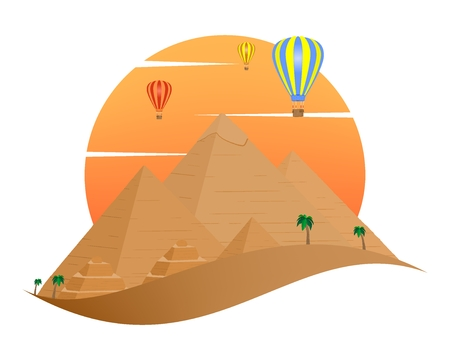 The icon with the Egyptian Pyramids of Giza in the Sand with orange sun in the background of palm trees with brown trunk with green leaves and flying color hot air balloon on a white background
