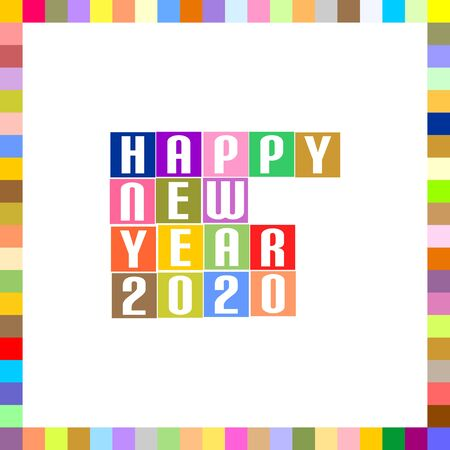 New Year Greetings for 2020 with white lettering Happy New Year 2020 in colorful squares with a frame around the color pixels on a white background
