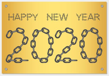 New Year Greetings for 2020 with the words Happy New Year from steel chain on a gold background Stock Illustratie