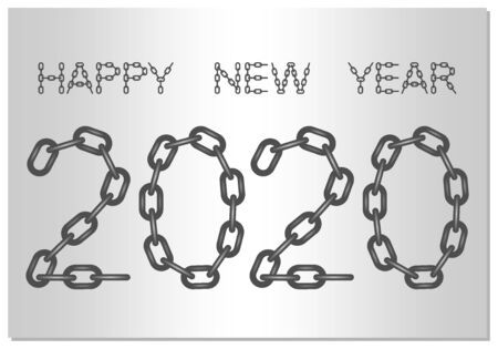 New Year Greetings for 2020 with the words Happy New Year from steel chain on a silver background