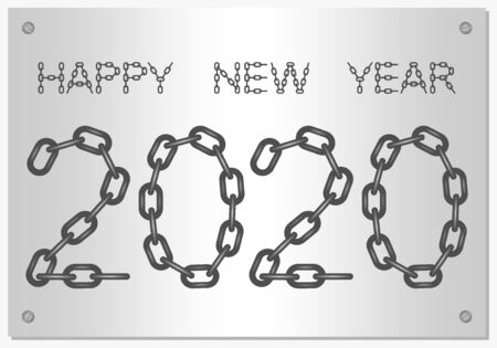 New Year Greetings for 2020 with the words Happy New Year from steel chain with silver screw on a silver background