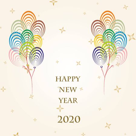 New Year Greetings for 2020 with colorful balloons flying on a gold background with gold stars and the word Happy New Year 2020
