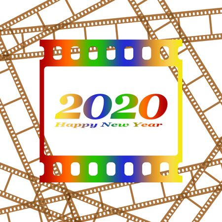New year greetings for 2020 with colorful blank film and photographic window with color inscription Happy new year and number 2020 on a background of brown film strips