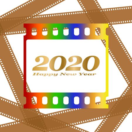 New year greetings for 2020 with colorful blank film and photographic window with golden inscription Happy new year and number 2020 on a background of brown film strips Stock Illustratie