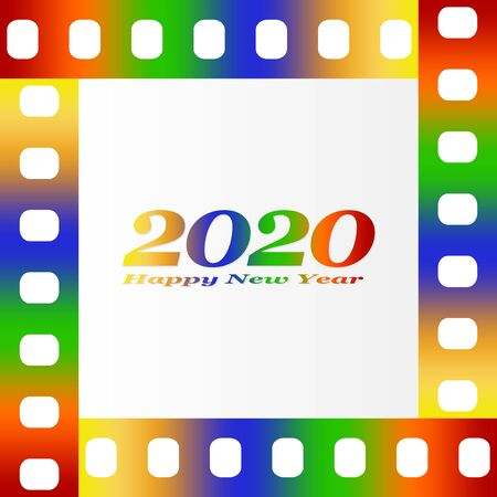 New year greetings for 2020 with colorful blank film and photographic window with golden inscription Happy new year and number 2020 on a background of color film strips Vectores