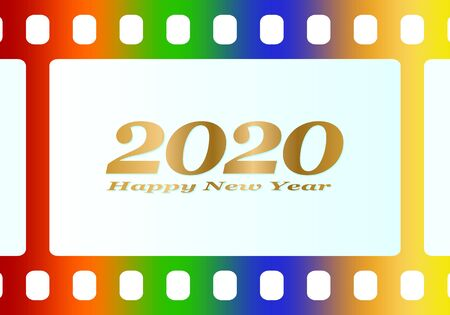 New year greetings for 2020 with colorful blank film and photographic window with golden inscription Happy new year and number 2020 on a white background