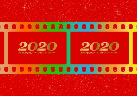 New year greetings for 2020 with colorful blank film and photographic window with golden inscription Happy new year and number 2020 on a red background with stars Stock Illustratie
