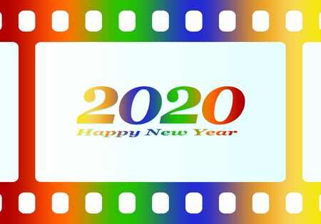 New year greetings for 2020 with colorful blank film and photographic window with color inscription Happy new year and number 2020 on a white background Stock Illustratie