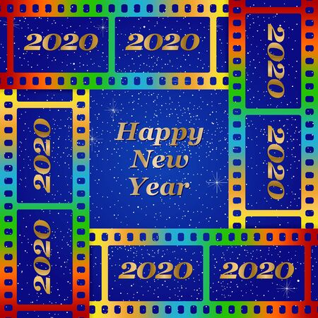 New year greetings for 2020 with colorful blank film and photographic window with golden inscription Happy new year and number 2020 on a background of color film strips Stock Illustratie