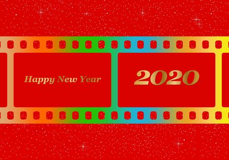 New year greetings for 2020 with colorful blank film and photographic window with golden inscription Happy new year and number 2020 on a red background with starts Stock Illustratie