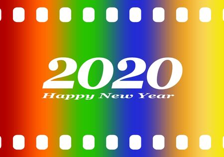 New year greetings for 2020 with colorful blank film and photographic window with white inscription Happy new year and number 2020 on a color background Stock Illustratie
