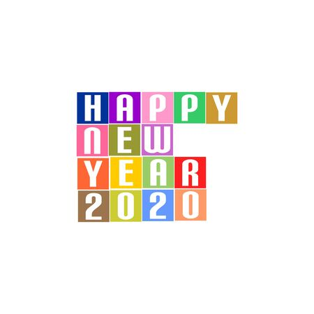 New Year Greetings for 2020 with white lettering happy new year 2020 on the colored squares in the middle on a white background