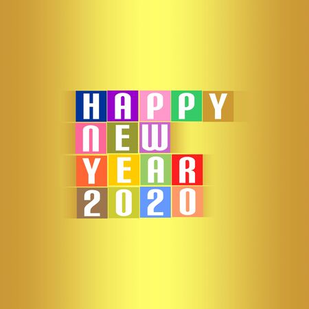 New Year Greetings for 2020 with white lettering happy new year 2020 on the colored squares with shadow in the middle on a gold background Stock Illustratie