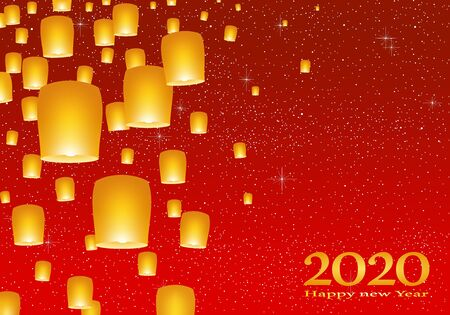 New year greetings for year 2020 with bright red sky with glowing stars with yellow lights and flying chinese lucky lanterns with clematis on left on a red background