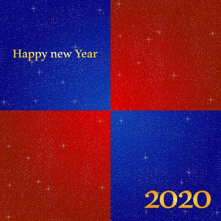 New year greetings for year 2020 with bright blue background and red square with glowing stars with yellow lights with number