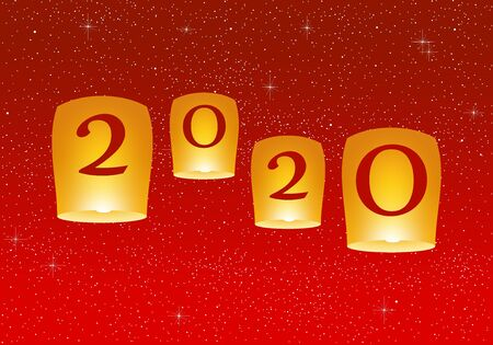 New year greetings for year 2020 with bright red background with glowing stars with yellow lights and flying chinese lucky lanterns with clematis with number Stock Illustratie