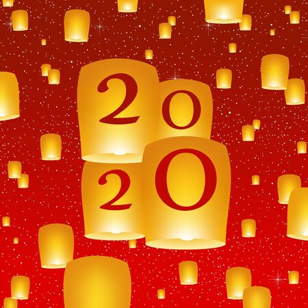 New year greetings for year 2020 with bright red background with glowing stars with yellow lights and flying chinese lucky lanterns with clematis with number Çizim