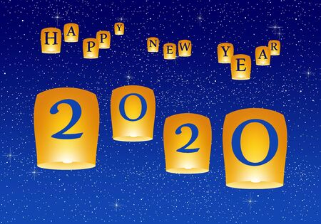 New year greetings for year 2020 with bright blue sky with glowing stars with yellow lights and flying chinese lucky lanterns with clematis on down on a blue background
