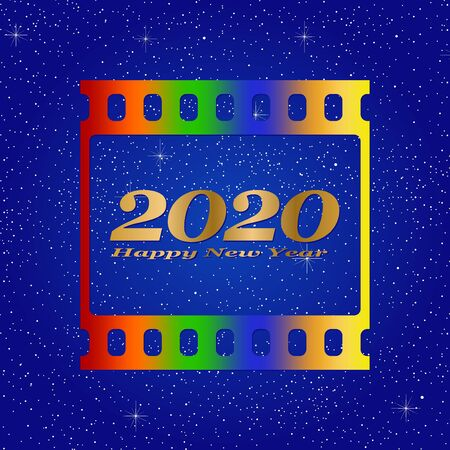 New year greetings for 2020 with colorful blank film and photographic window with golden inscription Happy new year and number 2020 on a blue background with starts