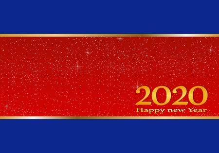 New year greetings for year 2020 with bright blue background and red strip and gold ribbon with glowing stars with yellow lights with number