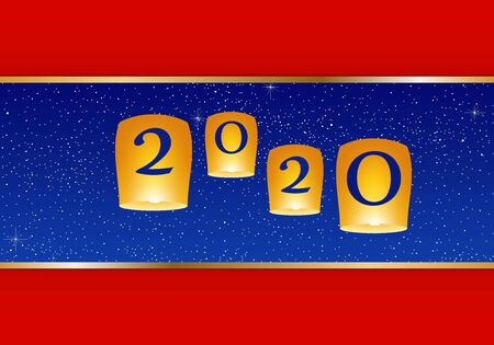 New year greetings for year 2020 with bright red background and red strip, yellow lights and flying chinese lucky lanterns with clematis, gold ribbon with glowing stars with yellow lights with number
