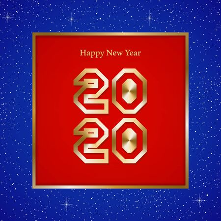 New year greetings for year 2020 with bright blue background with glowing stars with gold lights with number in the golden ribbon frame and red square